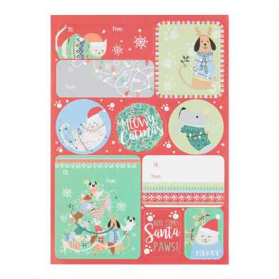 Festive Dogs And Cats Holiday Adhesive Gift Tags Set of 2
