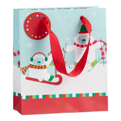 Small Glittering Skiing Yeti Holiday Gift Bag Set Of 2