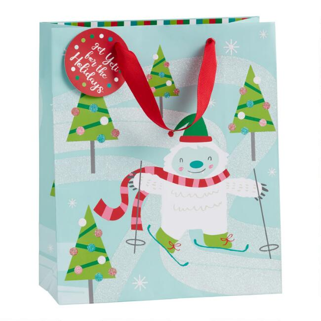 Medium Glittering Skiing Yeti Holiday Gift Bag