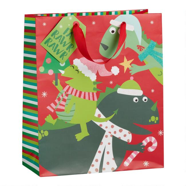 Large Glittering Dinosaur Holiday Gift Bag