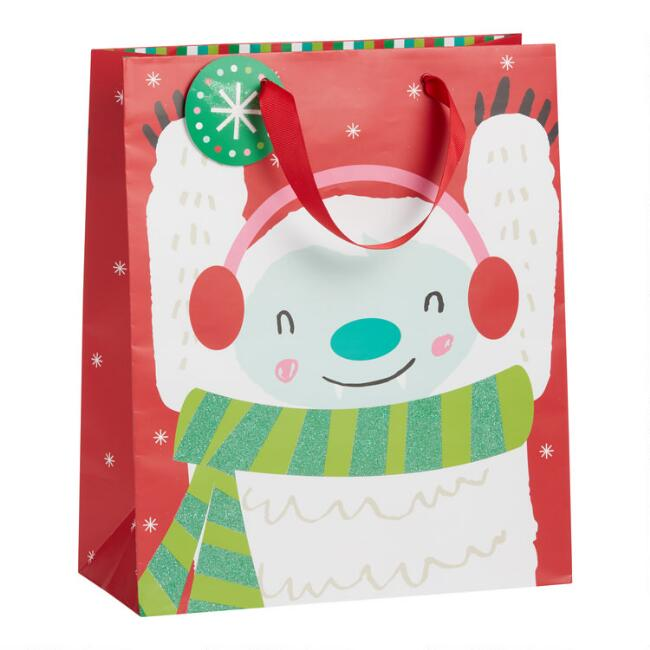 Large Glittering Yeti Holiday Gift Bag