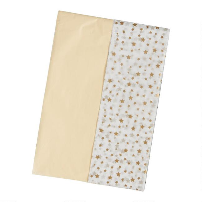 20 Pack Cream And Gold Star Tissue Paper Set Of 2