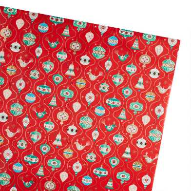 Red Retro Ornaments Holiday Wrapping Paper Roll