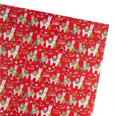 Red Festive Llama Holiday Wrapping Paper Roll
