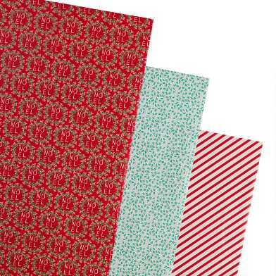 Red Stripes And Holly Holiday Wrapping Paper Rolls 3 Pack