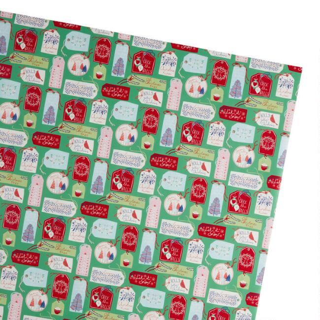 Farmhouse Gift Tag Holiday Wrapping Paper Roll