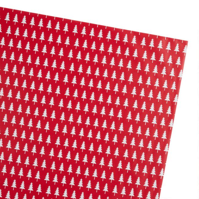 Jumbo Red And White Trees Holiday Wrapping Paper Roll