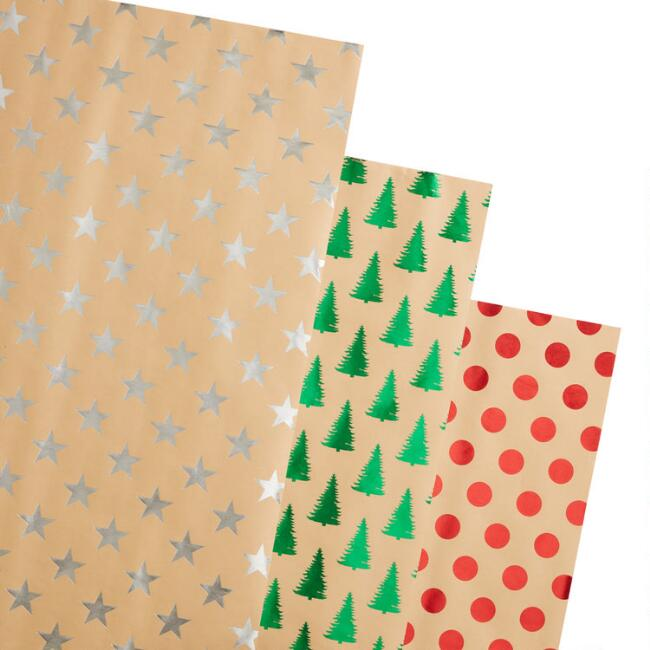 Metallic Foil and Kraft Holiday Wrapping Paper Rolls 3 Pack