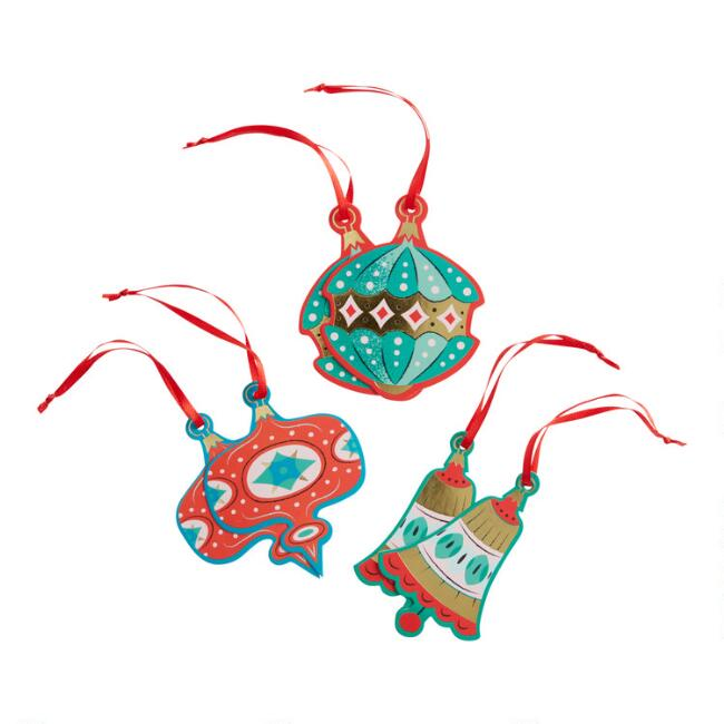 6 Pack Retro Ornaments Holiday Gift Tags Set of 2