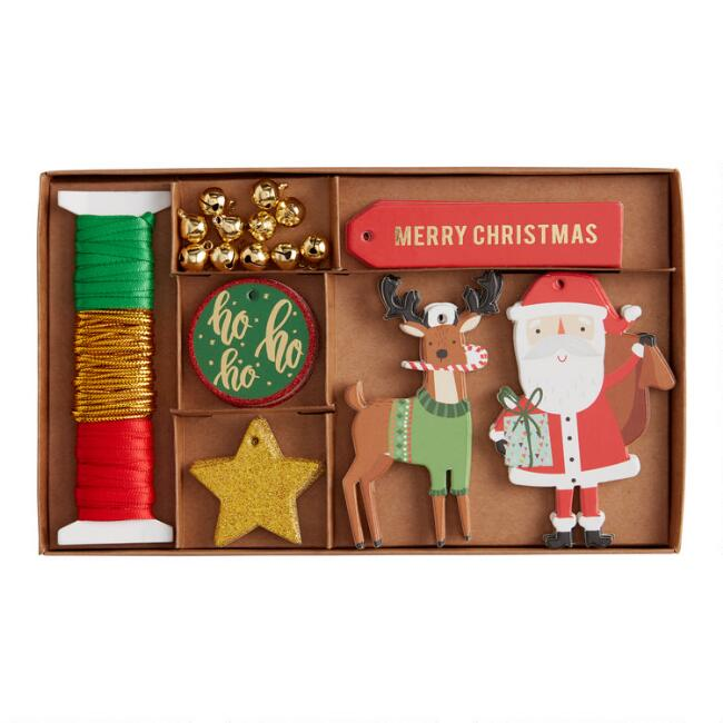 Red, Green And Gold DIY Holiday Gift Tag Kit 45 Piece