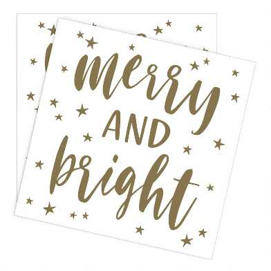 Merry And Bright Holiday Beverage Napkins 20 Count