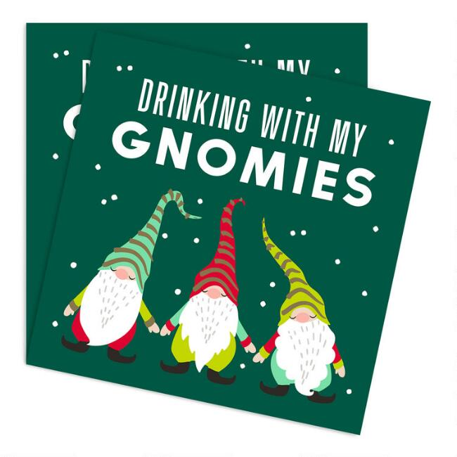 Drinking With My Gnomies Holiday Beverage Napkins 20 Count