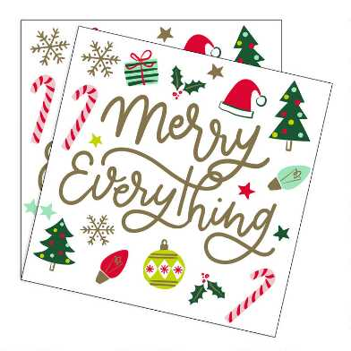 Merry Everything Christmas Beverage Napkins 20 Count