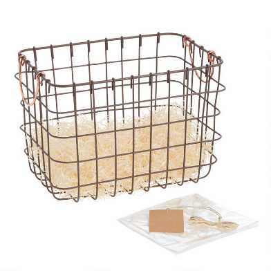 Rustic Copper Metal Wire Gift Basket Kit