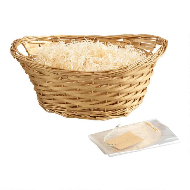 Gold Woven Willow Gift Basket Kit