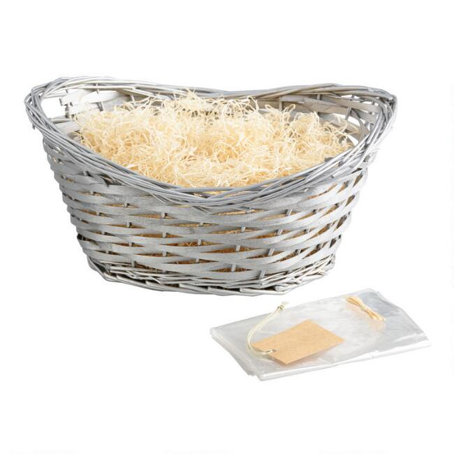 Silver Woven Willow Gift Basket Kit