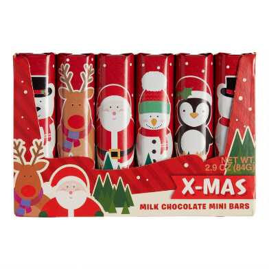 6 Pack Steen Mini Christmas Milk Chocolate Bars Set of 4