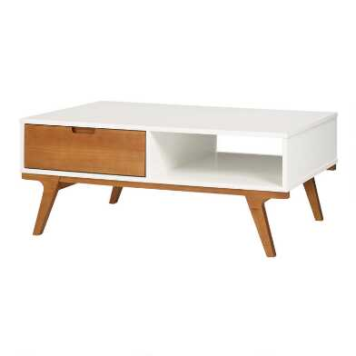 Pine Wood Abril Coffee Table with Drawer