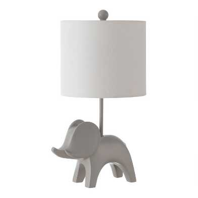 Elephant Ceramic and Cotton Kids Accent Lamp
