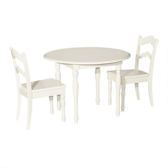 Off White Wood Mesa Kids Table And Chairs 3 Piece Set