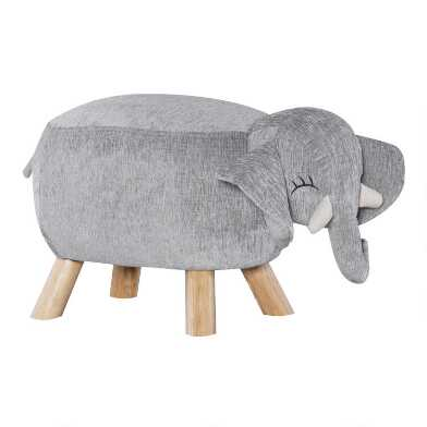 Gray Percy The Elephant Upholstered Kids Stool