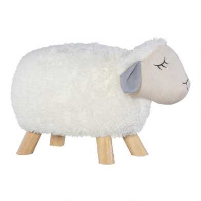 Ivory Lily The Sheep Upholstered Kids Stool