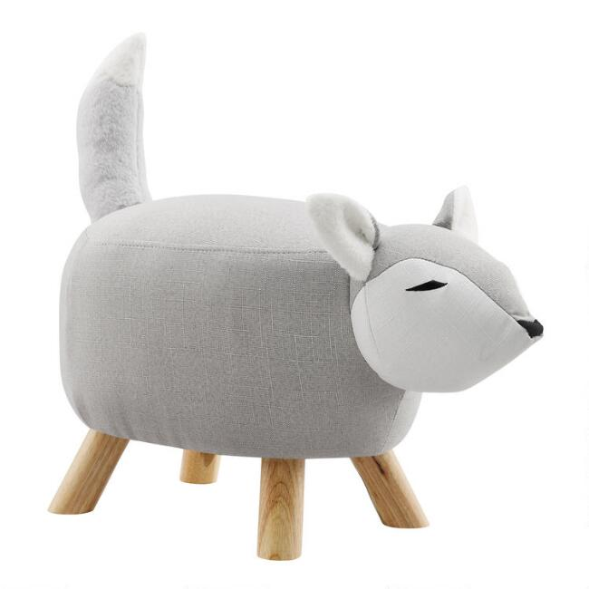 Gray Harold The Fox Upholstered Kids Stool