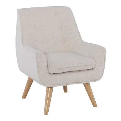 Ivory Faux Sherpa Brooks  Upholstered Kids Armchair