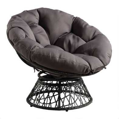 Wicker Swivel Papasan Chair with Cushion