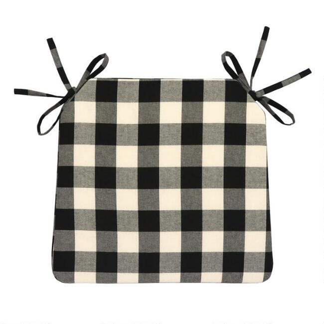 Black And Ivory Buffalo Check Bistro Chair Cushion