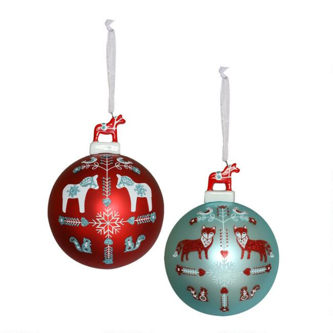 Glass Nordic Ball with Swedish Horse Ornaments Set of 2