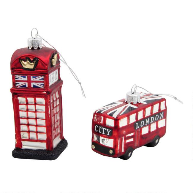 Glass London Bus and Phone Booth Ornaments Set of 2