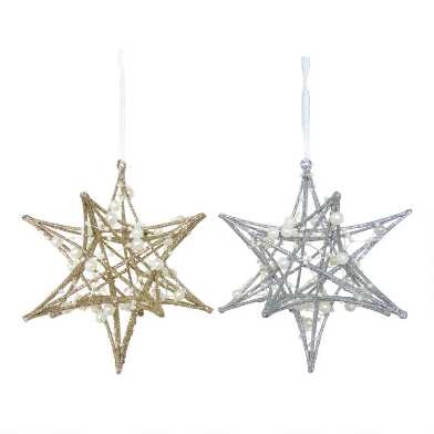 Glittered Star with Pearls Ornaments Set of 2