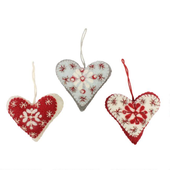 Felted Wool Nordic Heart with Snowflakes Ornaments Set of 3