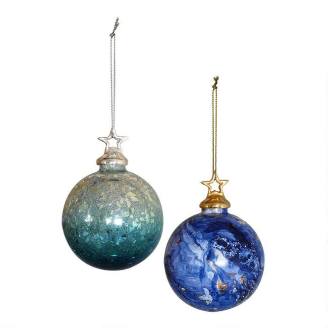 Glass Night Sky Ball Ornaments Set of 2