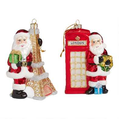 Glass French and British Santa Ornaments Set of 2