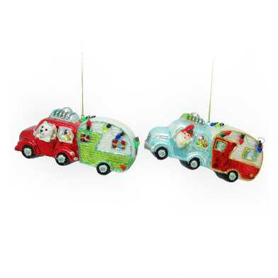 Glass Truck and Trailer Ornaments Set of 2