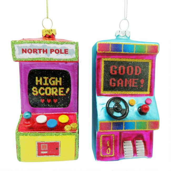 Multicolor Glass Arcade Game Ornaments Set of 2