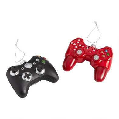 Red and Black Glass Game Controller Ornaments Set Of 2