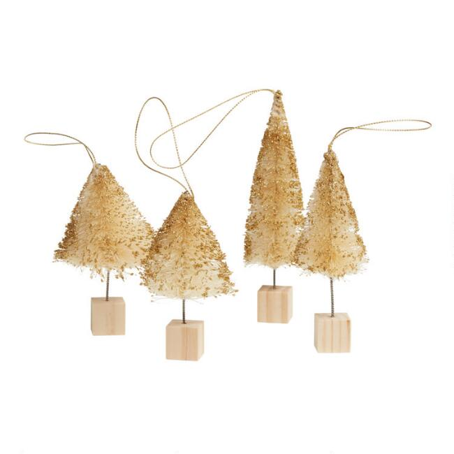 Natural and Gold Bottlebrush Tree Ornaments Set of 4