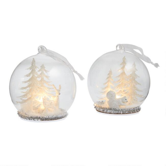 Glass Cloche Snowy Scene LED Light Up Ornaments Set of 2
