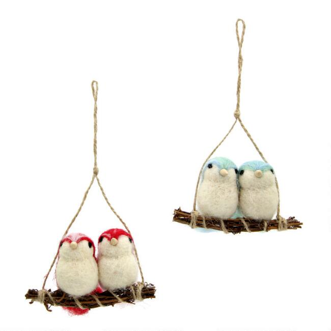 Felted Wool Lovebirds on Perch Ornaments Set of 2