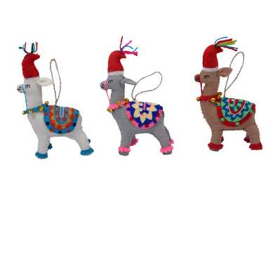 Wool Llama with Hat Ornaments Set of 3