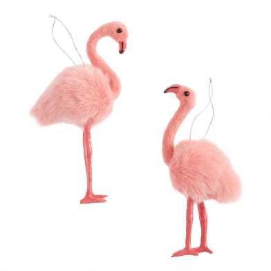 Faux Fur Flamingo Ornaments Set of 2