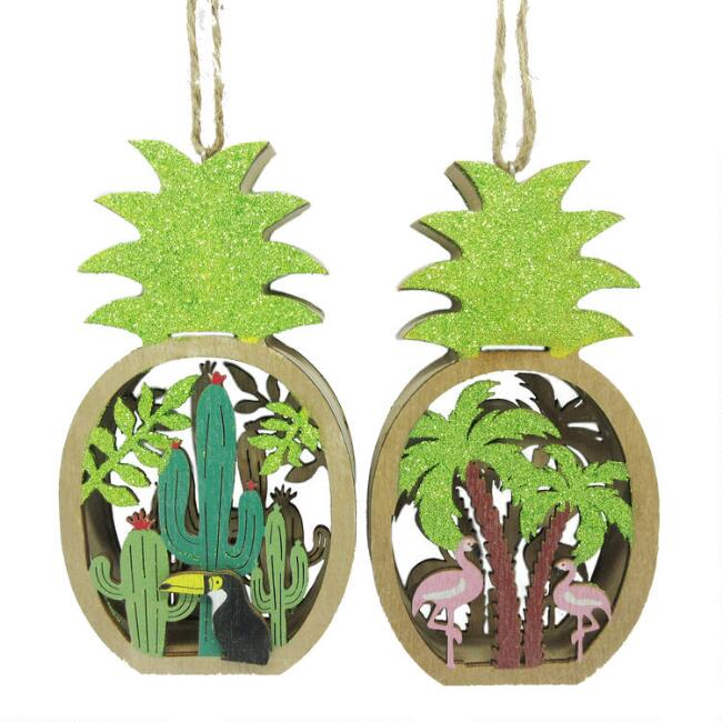 Wood Pineapple Scene Ornaments Set of 2