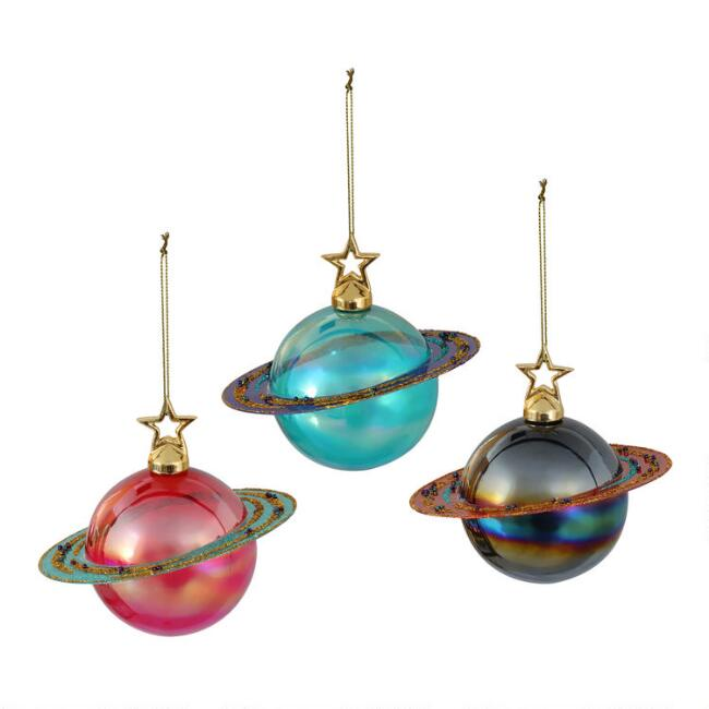 Glass Ringed Planet Ornaments Set of 3