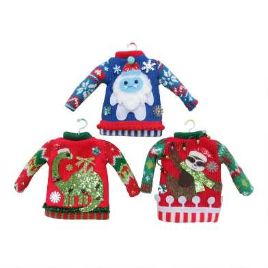 Whimsical Knit Holiday Sweater Ornaments Set of 3