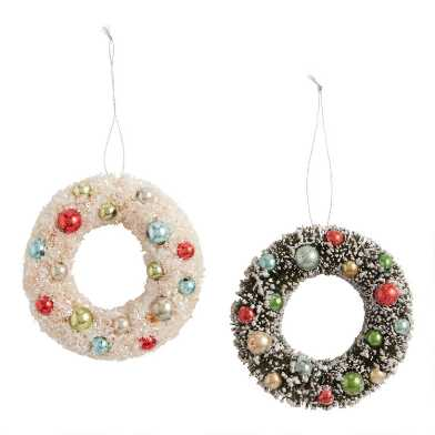 Retro Snowy Bottlebrush Wreath Ornaments Set of 2