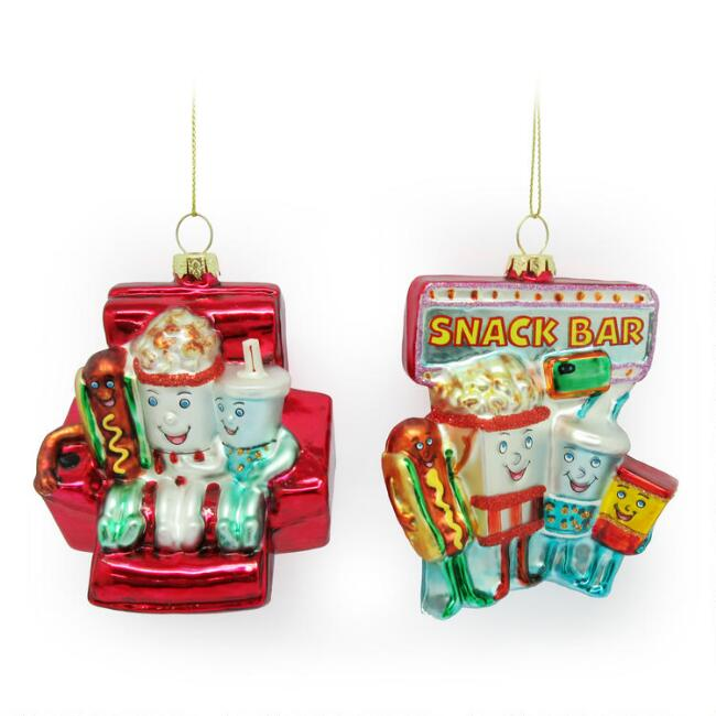 Glass Movie Theater Icon Ornaments Set of 2