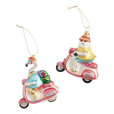 Glass Flamingo and Santa on Scooters Ornaments Set of 2
